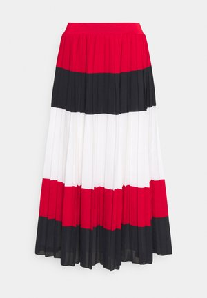 CREPE PLEATED MIDI SKIRT - Spódnica plisowana - red/blue