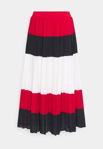 CREPE PLEATED MIDI SKIRT - Pleated skirt - red/blue