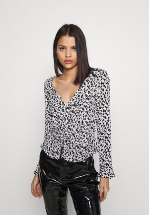 DALMATION PRINT RUCHED FRONT BLOUSE - Blůza - ivory