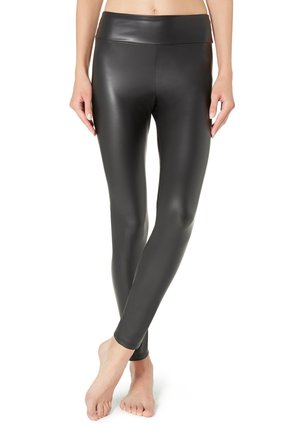 LEGGINGS MIT LEDER-EFFEKT - Leggings - Stockings - black