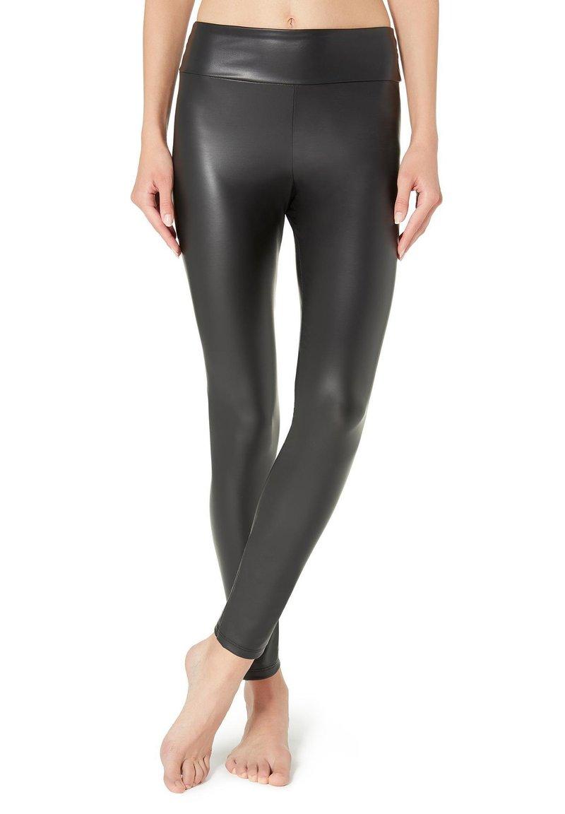 Calzedonia - MIT LEDER-EFFEKT - Leggings - Stockings - black