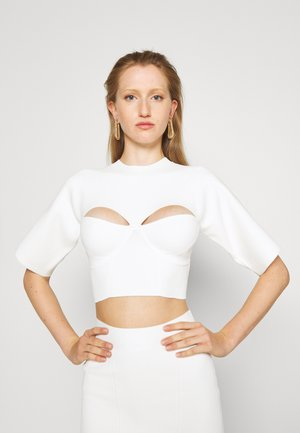 CROPPED TEE WITH CORSET DETAIL - Print T-shirt - alabaster