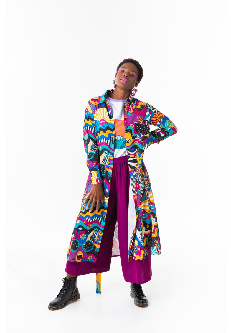 Lolina - PEACE AND LOVE - Vestido camisero - multicolor