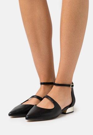ABOVIANA - Ankle strap ballet pumps - black