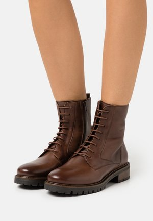 LEATHER - Lace-up ankle boots - dark brown