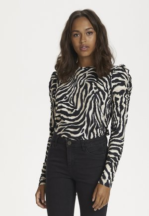 Long sleeved top - black/beige zebra print