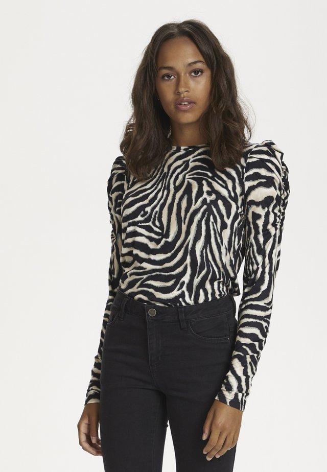 Camiseta de manga larga - black/beige zebra print