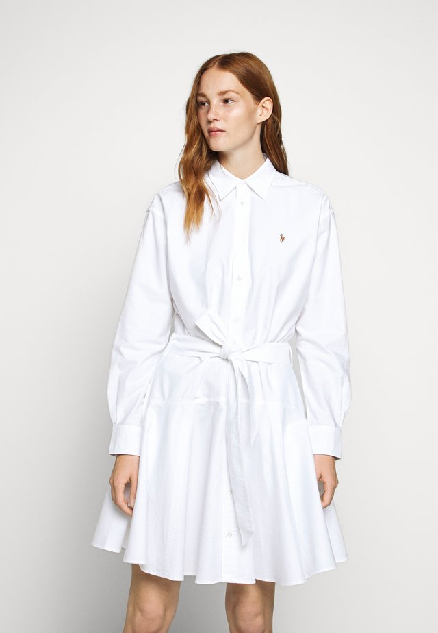 LONG SLEEVE CASUAL DRESS - Shirt dress - white