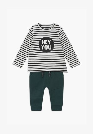 SET - Broek - dark green/white
