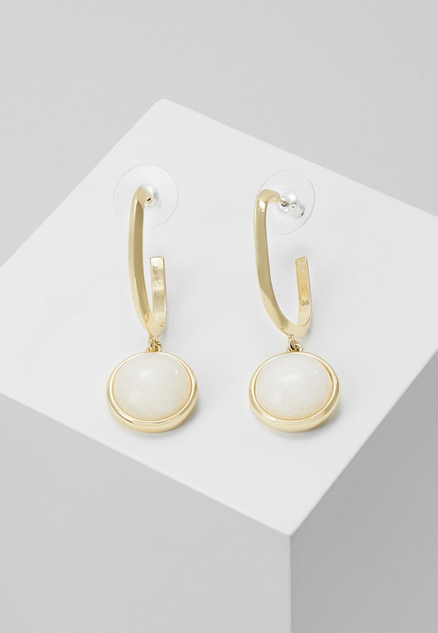 AGATHA OVAL PENDANT EAR - Oorbellen - gold-coloured/white
