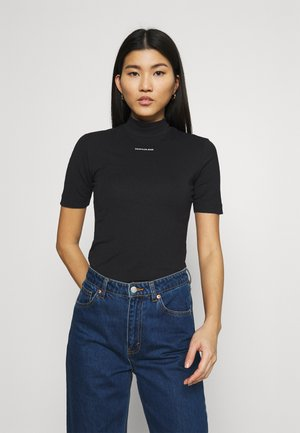 MICRO BRANDING STRETCH MOCK NECK - Triko s potiskem - black