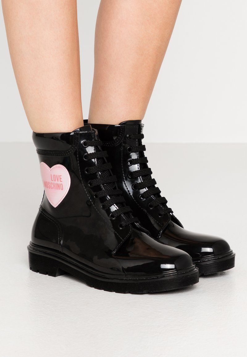 Love Moschino - RAIN LOVE - Lace-up ankle boots - black
