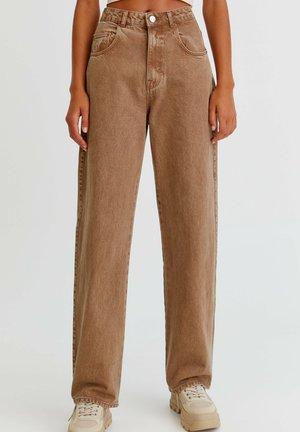 MIT HOHEM BUND - Straight leg -farkut - mottled light brown