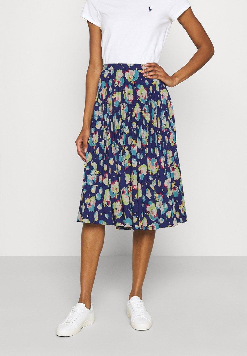 Lauren Ralph Lauren - DRAPEY SKIRT - A-line skirt - blue/multi