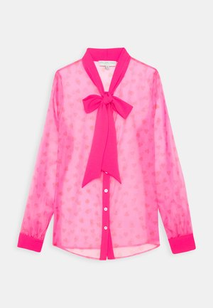 HEARTS PRINT TIE NECK BLOUSE - Chemisier - pink