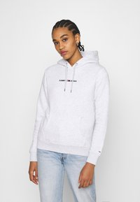 Tommy Jeans - LINEAR LOGO HOODIE - Sweat à capuche - silver grey heather - 0
