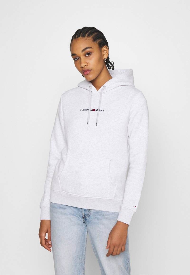 Tommy Jeans - LINEAR LOGO HOODIE - Sweat à capuche - silver grey heather
