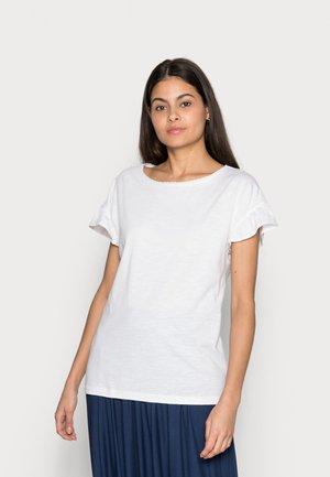 SLUB FRILL - Basic T-shirt - white