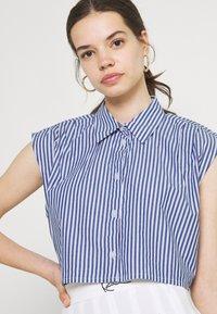 Monki - Button-down blouse - blue - 3