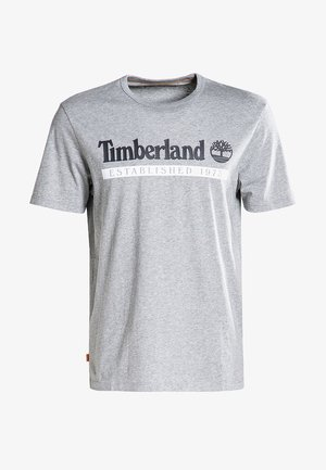 T-shirt print - medium grey heather-white