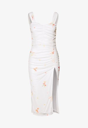 FLORAL SQUARE NECK MIDI DRESS - Juhlamekko - white