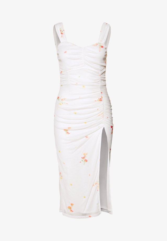 FLORAL SQUARE NECK MIDI DRESS - Vestido de cóctel - white