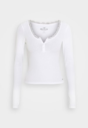 BUTTON THRU HENLEY - Camiseta de manga larga - white