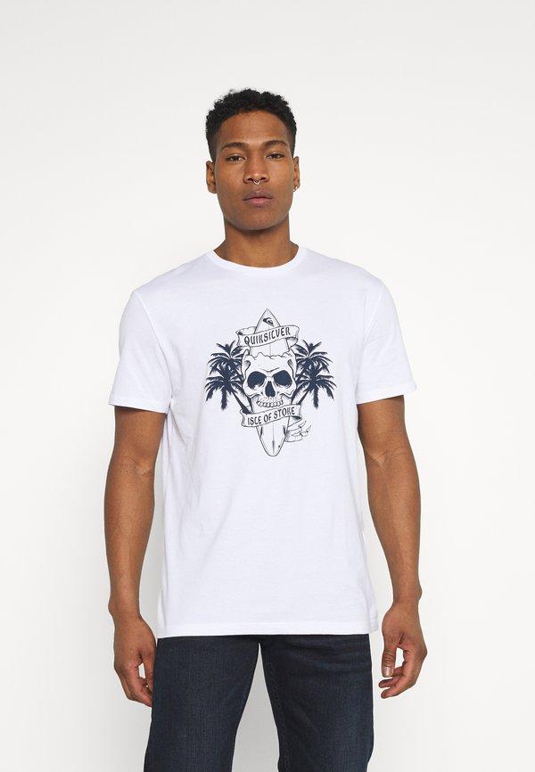 Quiksilver NIGHT SURFER - T-shirt z nadrukiem - white/biały Odzież Męska SUWB