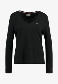 Tommy Jeans - SOFT V NECK LONGSLEEVE - Top sdlouhým rukávem - black - 3