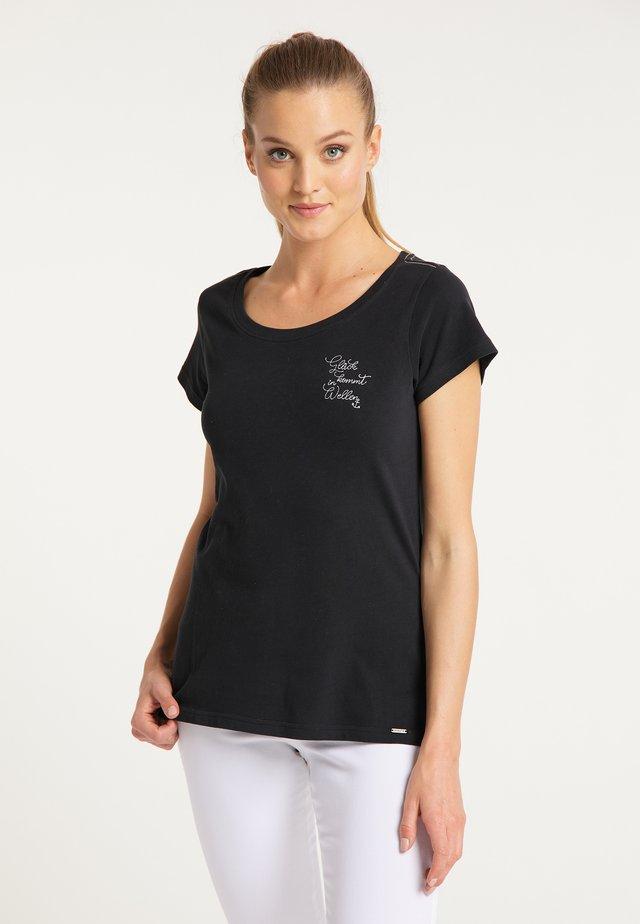 MIT STICKEREI - Jednoduché triko - schwarz