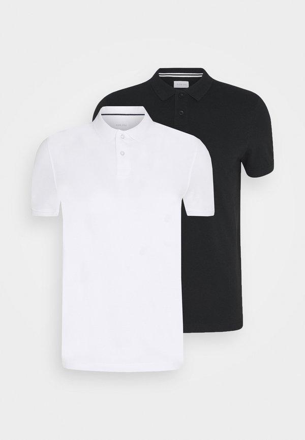 Pier One 2 PACK - Koszulka polo - white/black/biały Odzież Męska EOPR