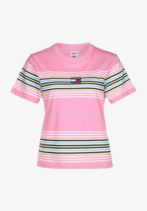 T-Shirt basic - pink daisy / stripe