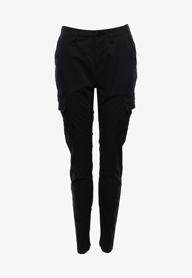 Cargo trousers - embroidered black
