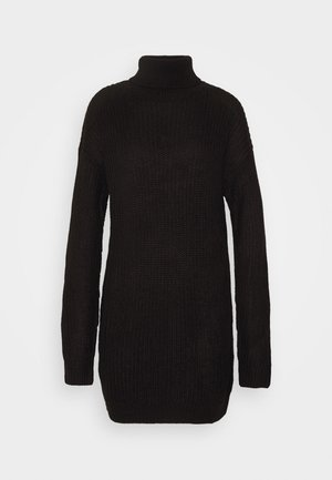ROLL NECK BASIC DRESS - Pletené šaty - black