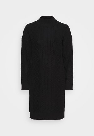 DRESS CABLE  - Abito in maglia - black