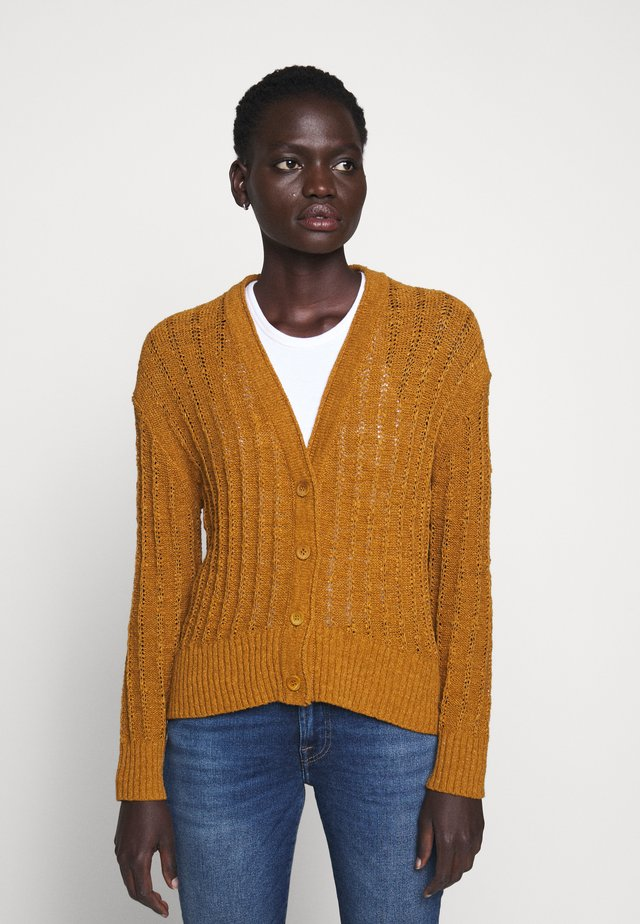 POINT SUR TEXTURED VNECK CARDIGAN - Chaqueta de punto - golden brandy