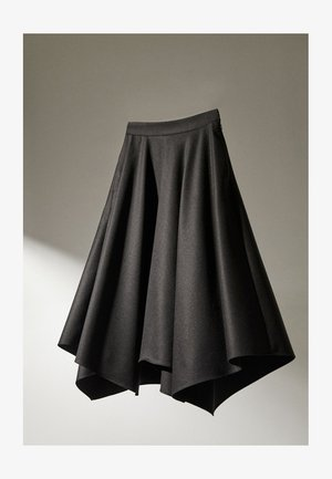 MIT ZACKEN AM SAUM - A-line skirt - dark grey