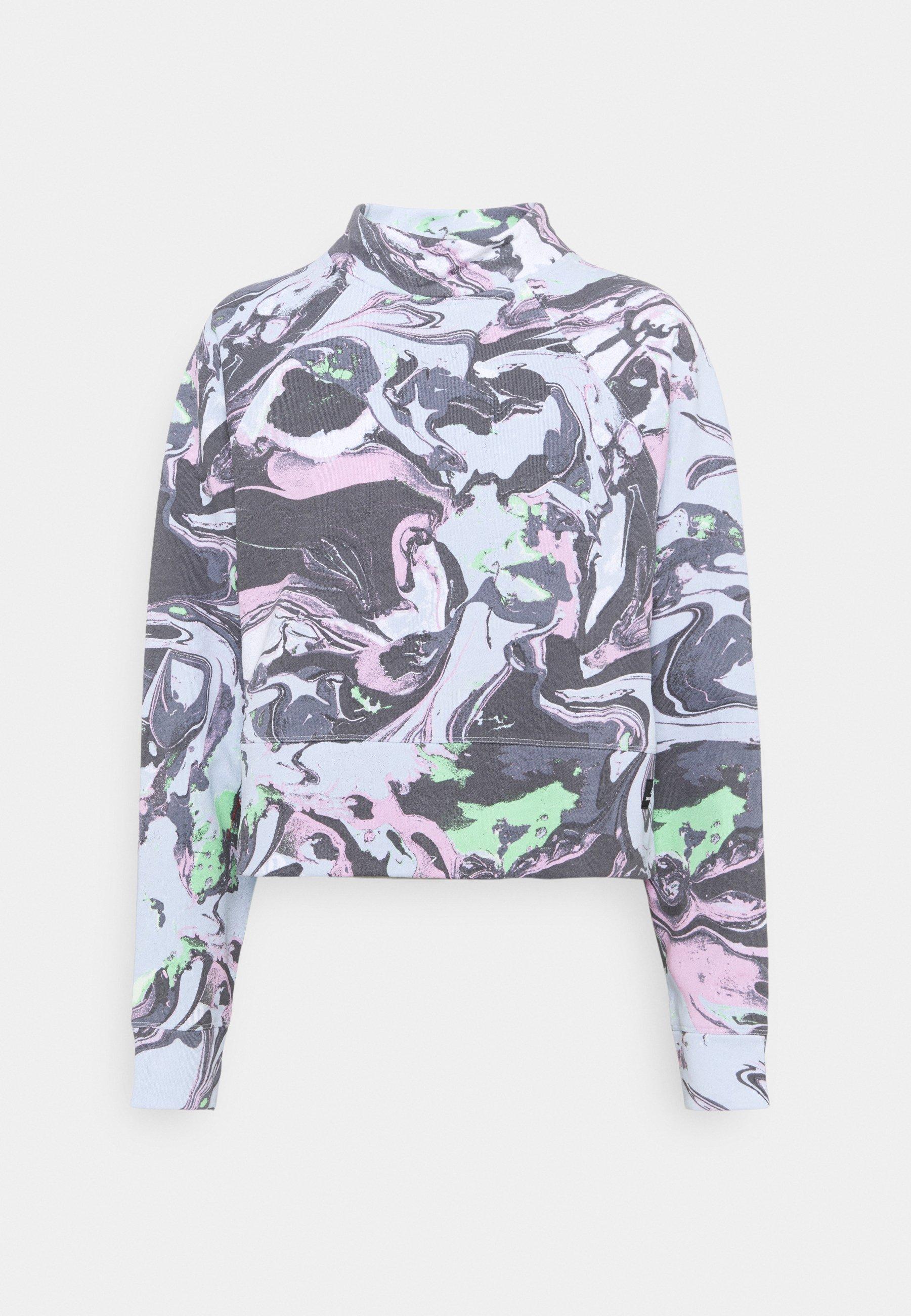 Women MARBLE PRINT CROPPED RAGLAN CREWNECK - Sweatshirt