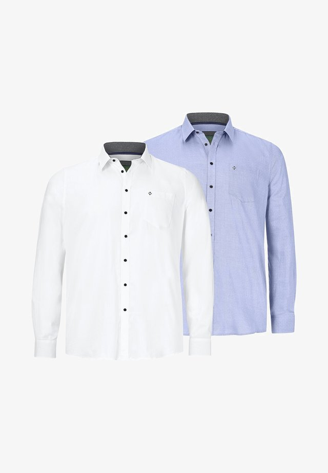 2 PACK - Overhemd - weiß  blau