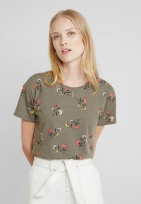 edc by Esprit - FLOWERS SHORT - Print T-shirt - olive - 0