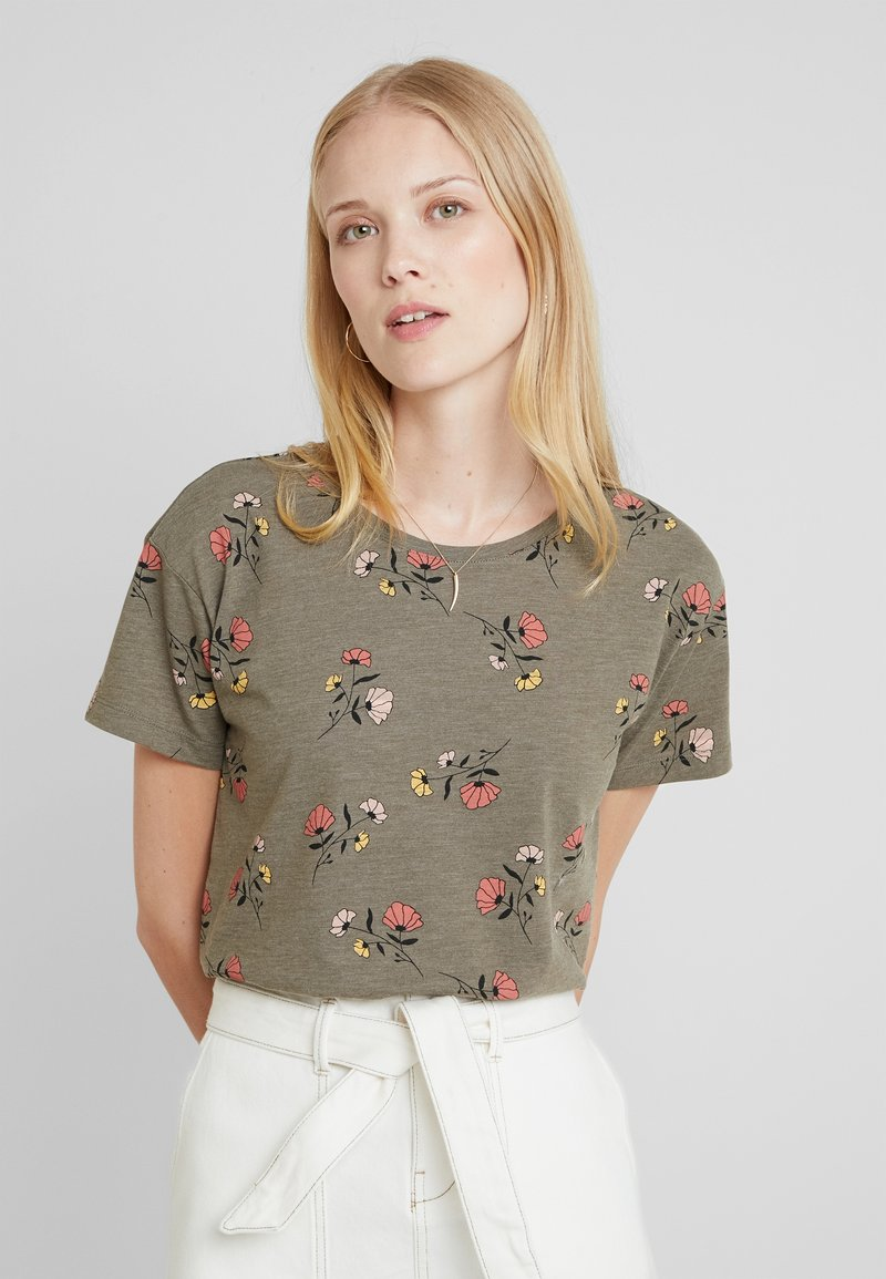 edc by Esprit - FLOWERS SHORT - Print T-shirt - olive