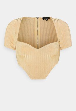 NECKLINE CORSET - Print T-shirt - beige