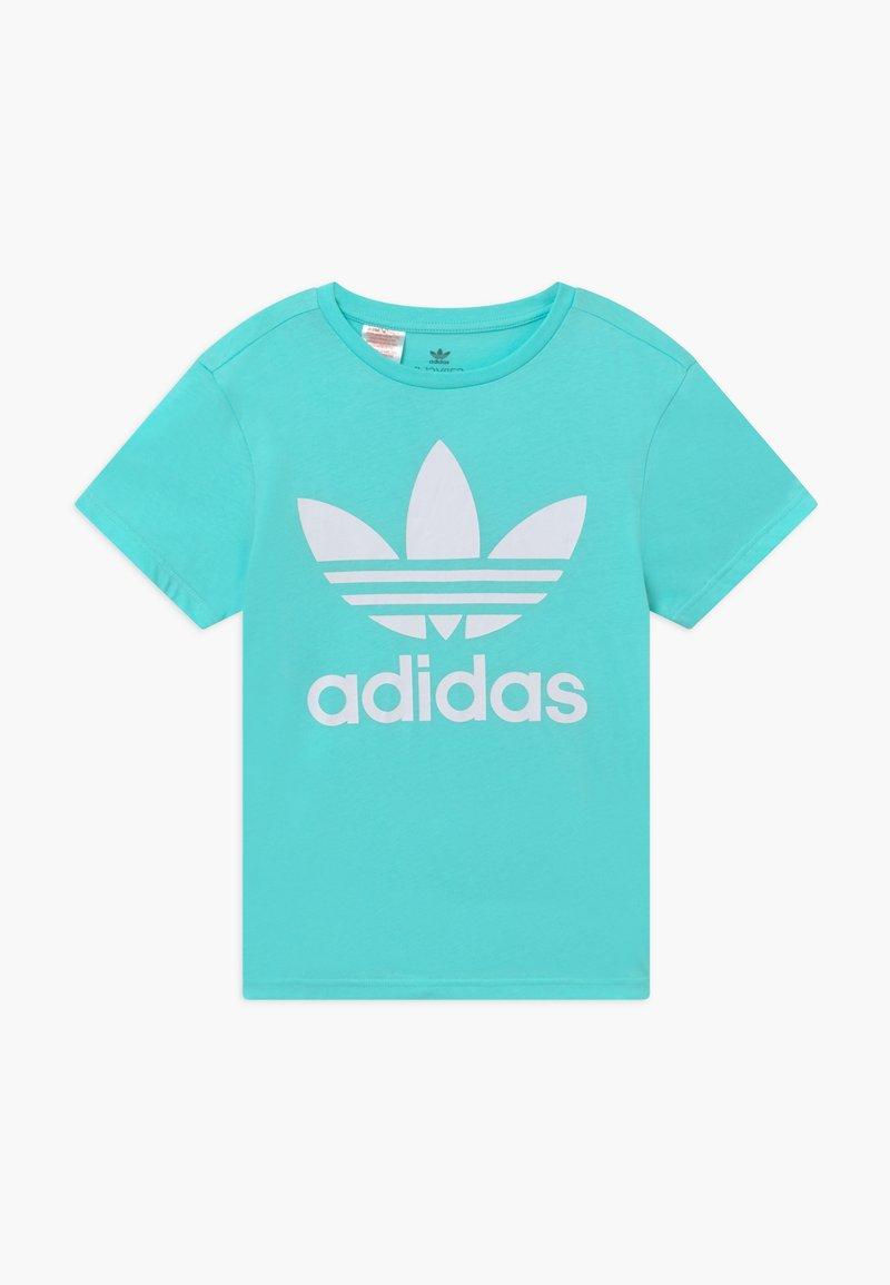 adidas Originals - TREFOIL - T-shirt print - aqua/white