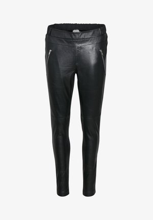 Leather trousers - black deep / gold