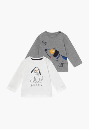 2 PACK - Langærmede T-shirts - mottled grey/white