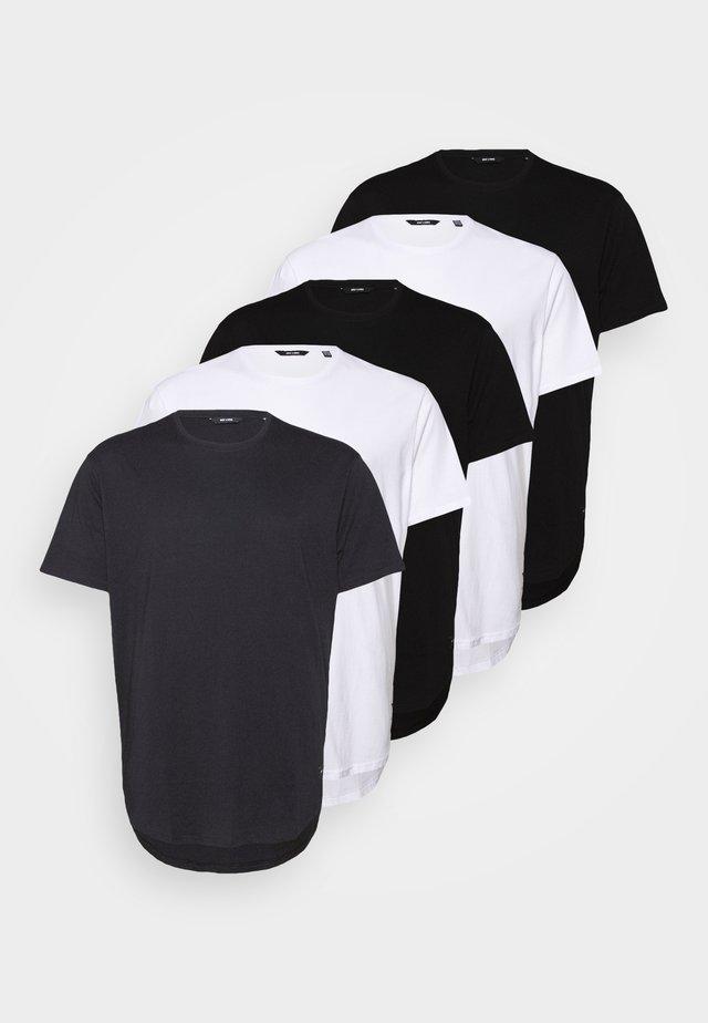 ONSMATT LONGY TEE  5 PACK  - Basic T-shirt - black/white/dark navy