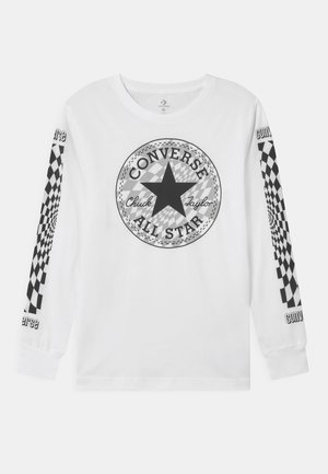 WARPED CHECKER GRADIENT UNISEX - Long sleeved top - white