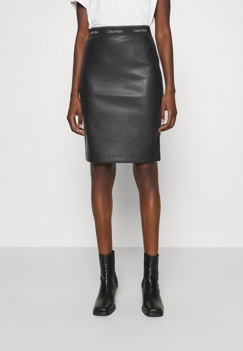 Calvin Klein - MIXED MEDIA PENCIL SKIRT - Pencil skirt - black