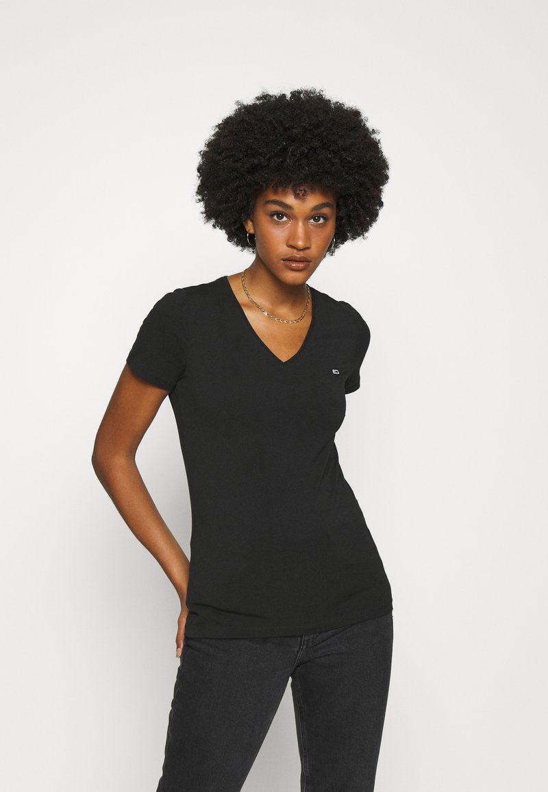 Tommy Jeans - SKINNY STRETCH V NECK - Basic T-shirt - black