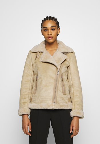 ONLMARIA AVIATOR - Faux leather jacket - pumice stone